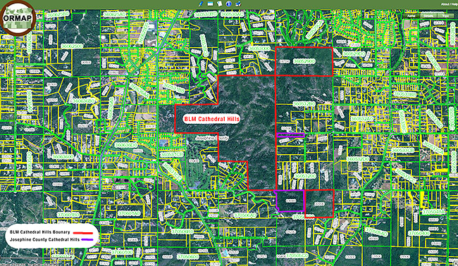 Land ownership map shows why the Central Park analogy fits Cathedral Hill. The BLM parklands are outlined in red.