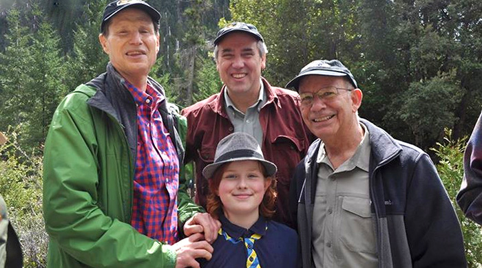 Left to Right - Senator Ron Wyden, Senator Jeff Merkley, Rep. Peter DeFazio and Owen Dwyer at the dedication of the Oregon Caves National Monument Preserve.