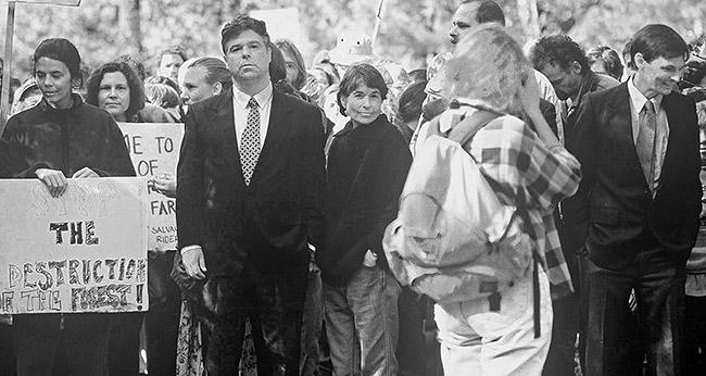 Congressman Jim Jontz in civil disobedience at the Sugarloaf timber sale protest.