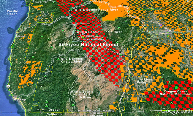 O and C Lands in the Illinois River Basin and Shasta Costa Watershed. Red = controverted (National Forest) lands and orange = BLM O&C and Public Domain Lands.