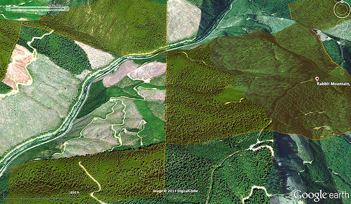 Google earth image of the mix of BLM O&C lands (orange overlay) and private forest land managed under the Oregon Forest Practices Act. Cow Creek runs through the image.
