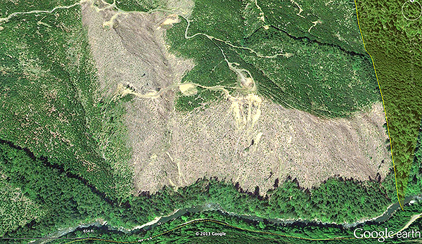 Private land logging above the South Fork Coquille River under the Oregon Forest Practices Act.