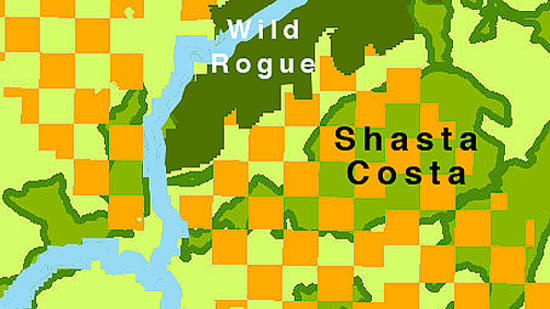 The Shasta Costa Roadless Area (medium green) is checkerboard National Forest O&C (orange). Most of the O&C sections have young virgin forest.