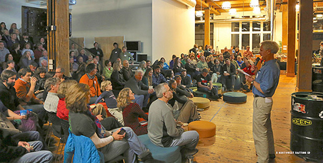 Tim Palmer talking about protecting the Wild and Scenic Chetco River at Northwest Rafting Company's Wild Rivers Night.