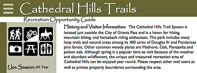 From BLM's Cathedral Hills Recreation Opportunity Guide.