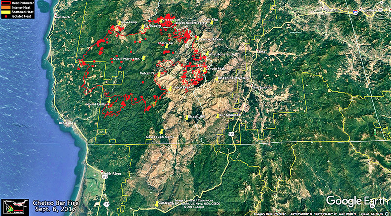 Chetco Bar Fire on Google Earth