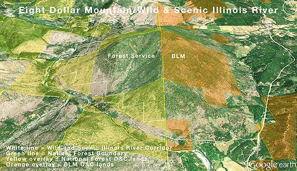 Eight Dollar Mountain and Wild and Scenic Illinois River Corridor. Google Earth image.