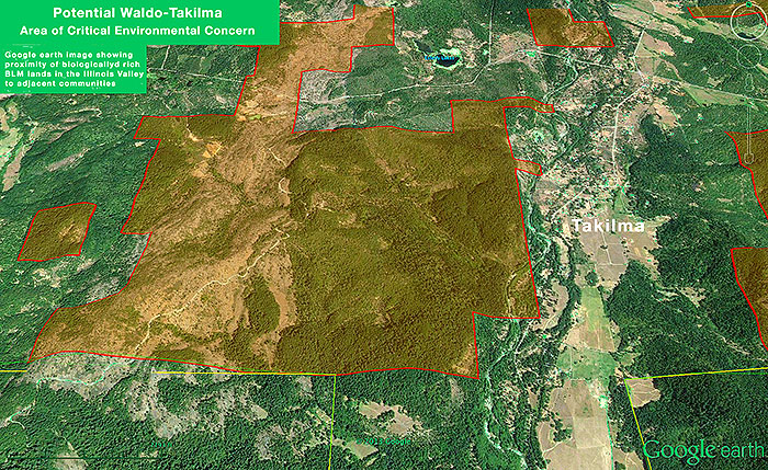 The potential Waldo-Takilma ACEC is supported both by local residents, the Bureau of Land Management and ecologists. Red overlay = Waldo-Takilma ACEC